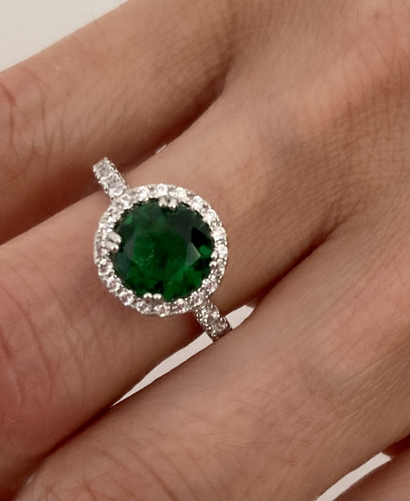 Sterling Silver & Rose Gold Fill Round Cut green gemstone.