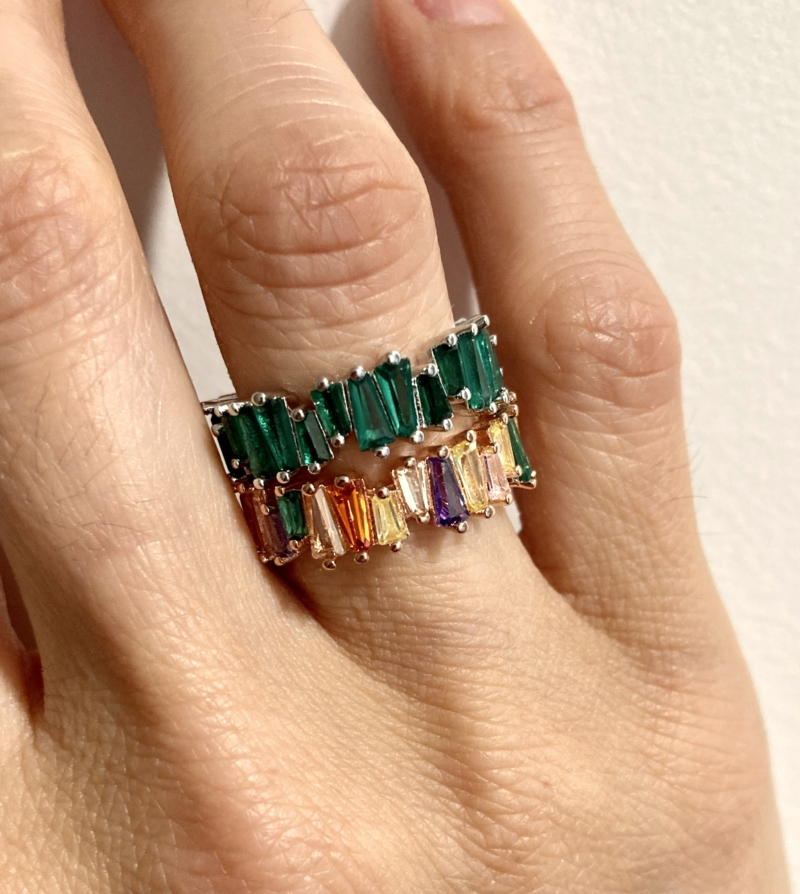 Ring sterling Silver & Rose Gold plated multicoloured Cubic Zirconia